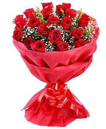 21 adet kırmızı gülden modern buket  Tunceli kaliteli taze ve ucuz çiçekler