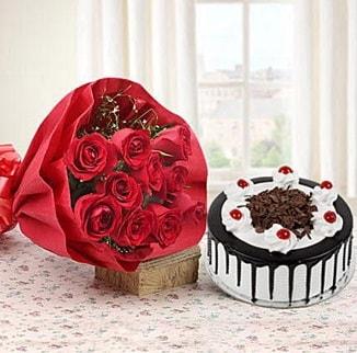12 adet kırmızı gül 4 kişilik yaş pasta  Tunceli online çiçekçi , çiçek siparişi