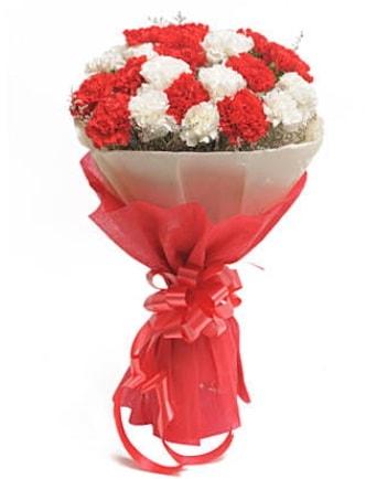 21 adet kırmızı beyaz karanfil buketi  Tunceli yurtiçi ve yurtdışı çiçek siparişi