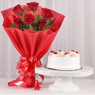 6 Kırmızı gül ve 4 kişilik yaş pasta  Tunceli online çiçekçi , çiçek siparişi