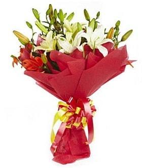 5 dal kazanlanka lilyum buketi  Tunceli çiçek servisi , çiçekçi adresleri
