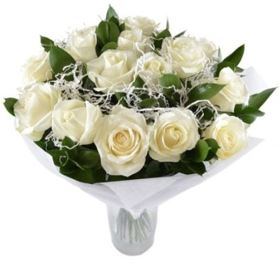 15 beyaz gül buketi sade aşk  Tunceli yurtiçi ve yurtdışı çiçek siparişi