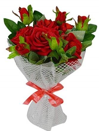 9 adet kırmızı gülden sade şık buket  Tunceli güvenli kaliteli hızlı çiçek