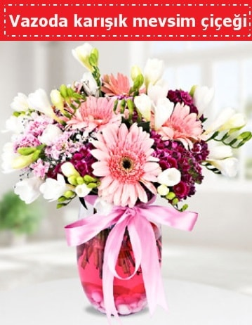 Vazoda karışık mevsim çiçeği  Tunceli online çiçekçi , çiçek siparişi