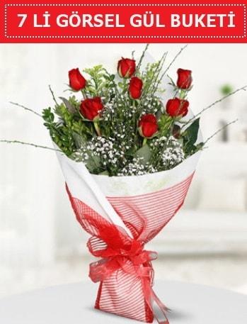 7 adet kırmızı gül buketi Aşk budur  Tunceli yurtiçi ve yurtdışı çiçek siparişi