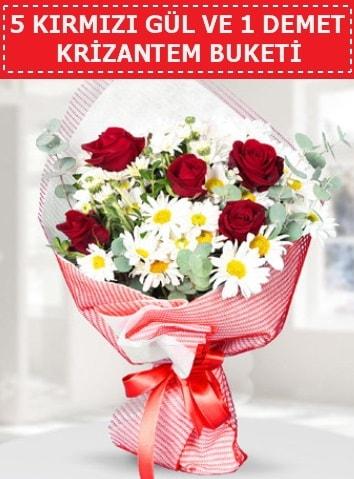5 adet kırmızı gül ve krizantem buketi  Tunceli yurtiçi ve yurtdışı çiçek siparişi
