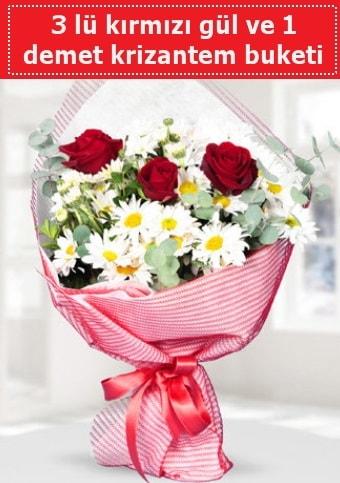 3 adet kırmızı gül ve krizantem buketi  Tunceli çiçek servisi , çiçekçi adresleri