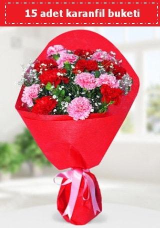 15 adet karanfilden hazırlanmış buket  Tunceli çiçekçi mağazası